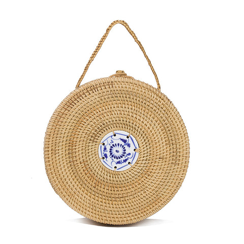 Mini Straw-Rattan Circle Bag