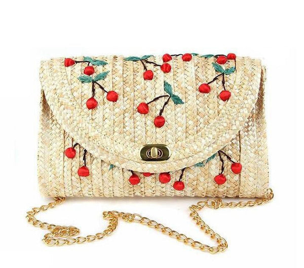 Cherry Straw Clutch Purse