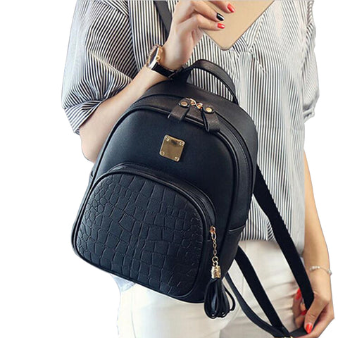Faux Leather Backpack with Alligator Embossed Front Pocket