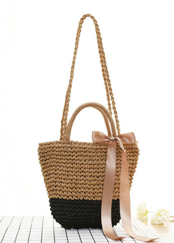 Mini Straw Tote Bag with Ribbon Bow