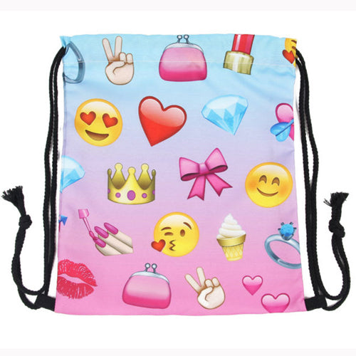 Girls Emoji Drawstring Backpack