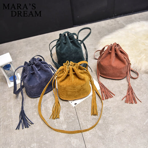 Mini Suede Bucket Bag With Tassels