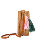 Straw Circle Bag with Tassel