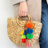 Straw Top Handle Tote Bag with Pom Pom Tassels