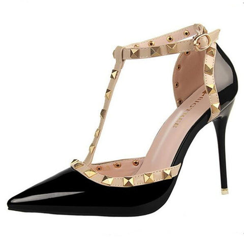 Studded Ankle T-Strap Pumps