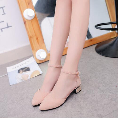 Ankle Strap Short Block Heels