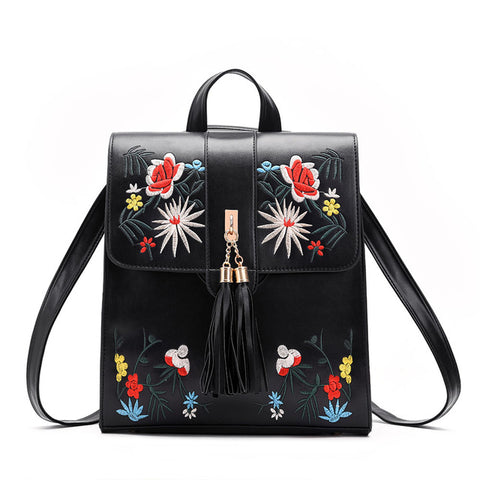 Vegan Leather Embroidered Backpack