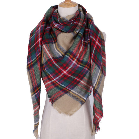 Plaid Scarf: Green, Red, Tan-Brown