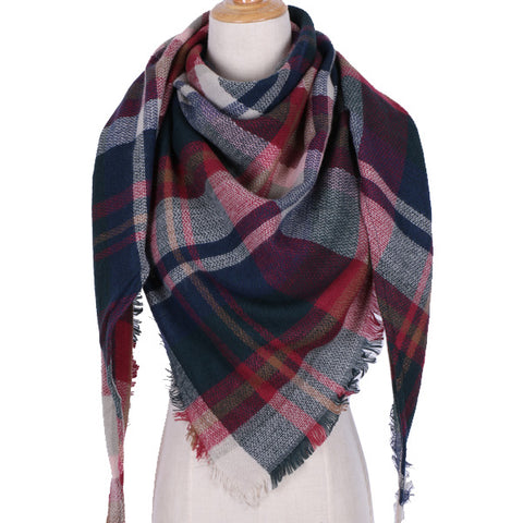 Jewel Tone Plaid Blanket Scarf