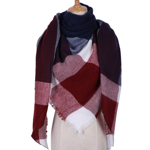 Plaid Blanket Scarf: Navy Blue, Burgundy, White