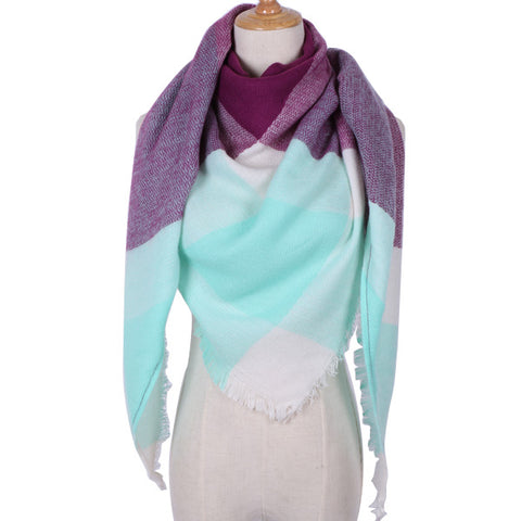 Plaid Blanket Scarf: Purple, White, Mint