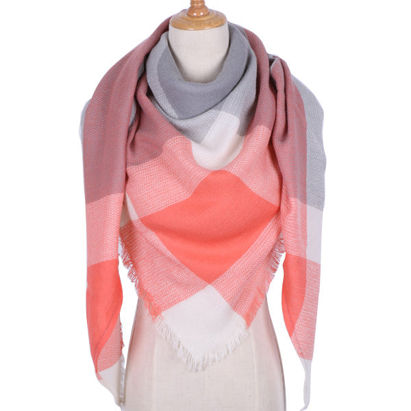 Plaid Blanket Scarf: Coral-Red, Gray, White