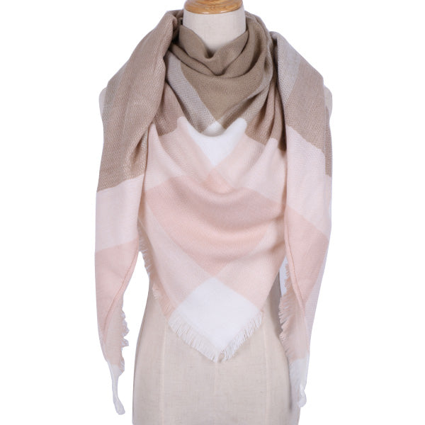 Plaid Blanket Scarf:  Pink, White, and Tan-Brown