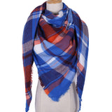 Plaid Blanket Scarf: Blue, Red and White (Triangle Style)
