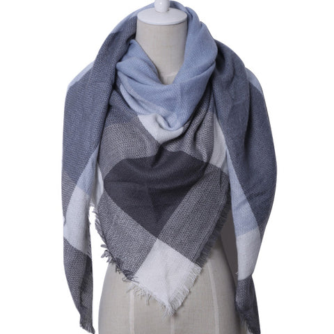 Blue and Gray Plaid Blanket Scarf