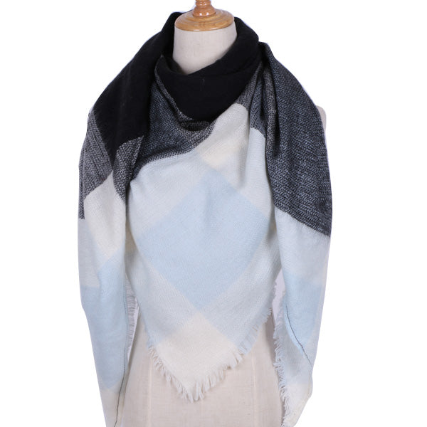 Plaid Blanket Scarf: Light Blue, White, and Black