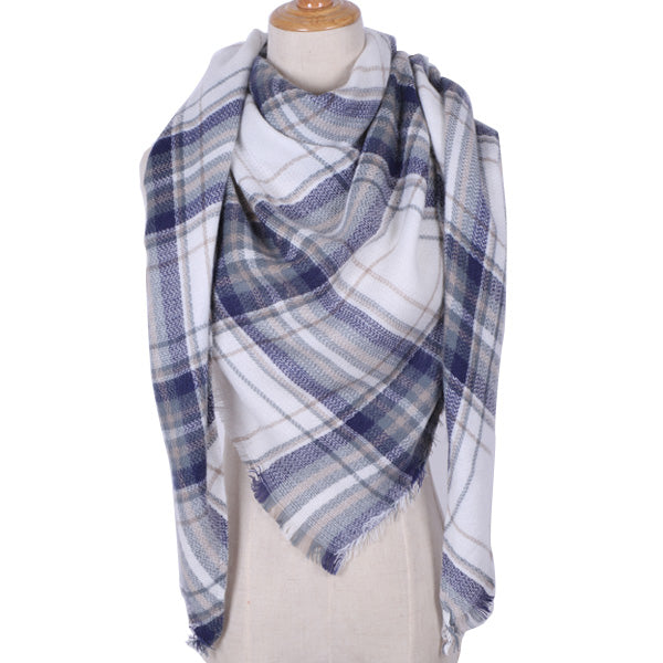 Plaid Blanket Scarf: Blue, White, and Tan-Brown