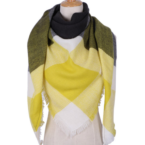 Plaid Triangle Blanket Scarf: Yellow, Black and White
