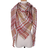 Plaid Blanket Scarf: Tan Brown, Red, and White