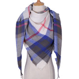 Plaid Blanket Scarf: Purple, Red, White, and Gray