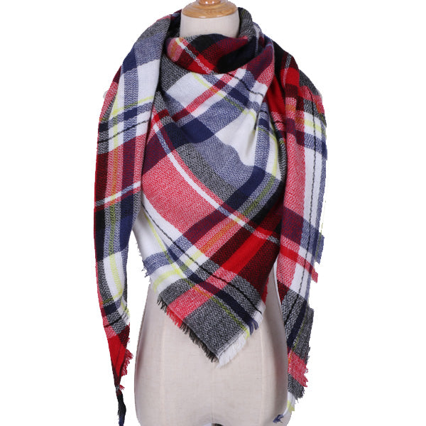 Plaid Blanket Scarf: Red, White, Black, Yellow, Blue