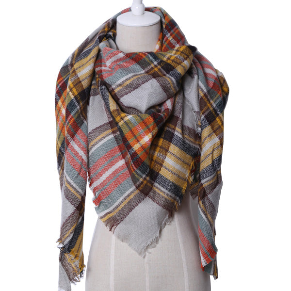 Plaid Blanket Scarf: Red, Brown, Gray, and Yellow