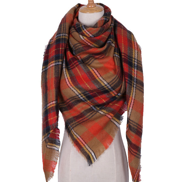 Plaid Blanket Scarf: Brown, Red, White, Black