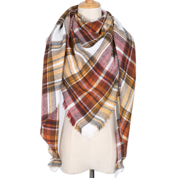 Plaid Blanket Scarf: Red, Yellow, White, Brown