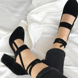 Suede Lace-Up Block Heels