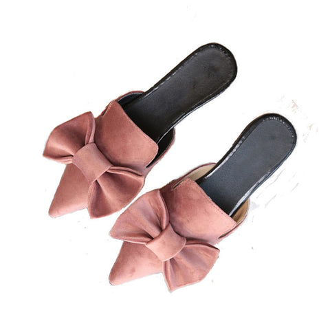 Suede Pointed Toe Mules with Bow