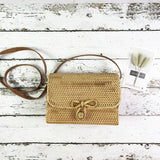 Rattan Box Bag with Bow Clasp