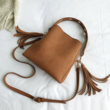 Marie - Suede Bucket Bag with Tassels
