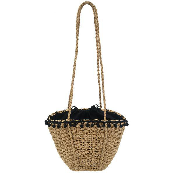 Straw Tote Bag with PomPom Tassels
