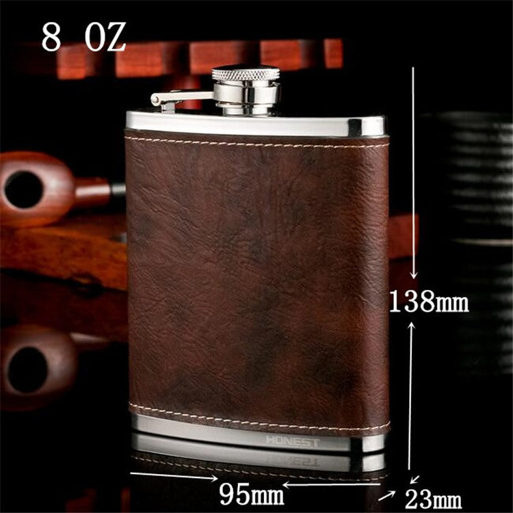 High quality 8 OZ hip flask with genuine leather