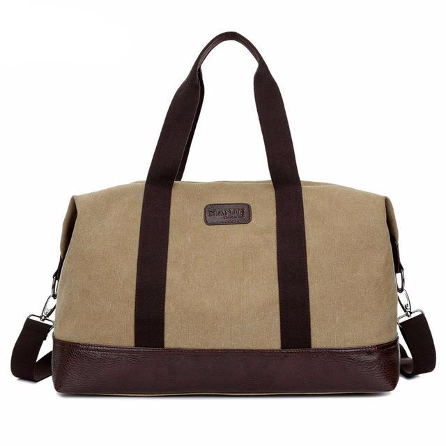 Canvas Duffle Bag For Men - Khaki, Coffee or Black - Weekender Duffle Bag