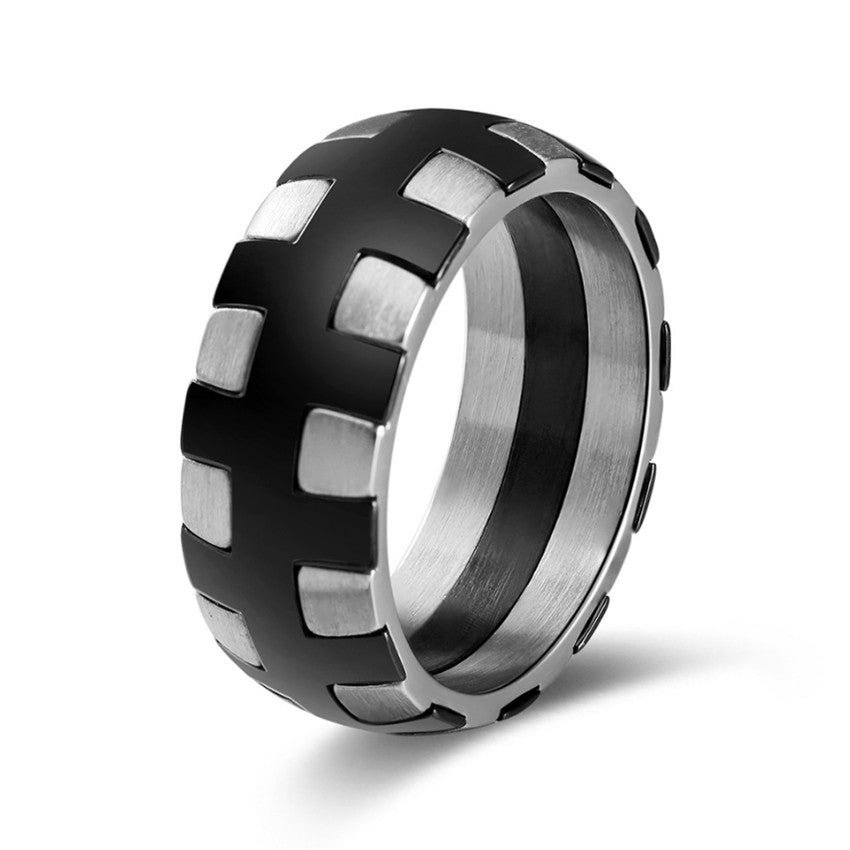 BLEUM CADE Tire Tread Style Grooved Ring Men Jewelry Rock Punk Vintage Stainless Steel