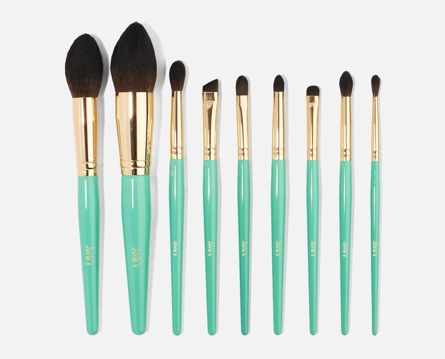 9PCS TURQUOISE BLUE BRUSH SET
