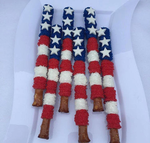 12 Flag Chocolate Covered Patriotic Memorial Day Fourth of July Labor Day Treats Sweets Table - Sparkling Sweets Boutique,  - chocolate
