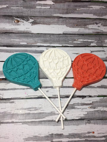 12 Chocolate Hot Air Balloon Lollipops Birthday Baby Shower Party Favors Sweet Table Up Up Away Baptism Communion Easter Spring Treat Sucker - Sparkling Sweets Boutique,  - chocolate