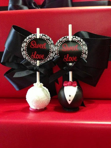 12 Bride and Groom Cake Pops Wedding Reception Bridal Party Sweets Table Candy Buffet - Sparkling Sweets Boutique,  - chocolate