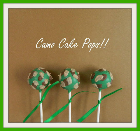 12 Camouflage Camo Cake Pops Hunting Fishing Party Birthday Favors Camping Sweets Table Candy Buffet - Sparkling Sweets Boutique,  - chocolate