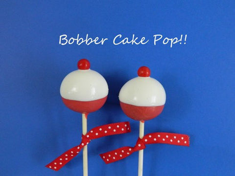 12 Fish Fishing Bobber Cake Pops Birthday Retirement Party Favors Sweets Table Candy Buffet Cake Pop Bachelor Wedding - Sparkling Sweets Boutique,  - chocolate