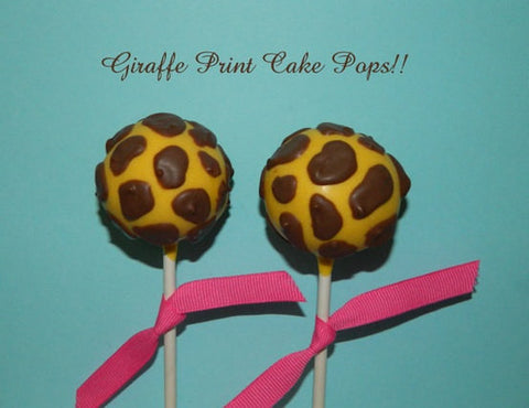 12 Giraffe Print Baby Shower Birthday Party Favors Cake Pops Sweets Table Candy Buffet - Sparkling Sweets Boutique,  - chocolate
