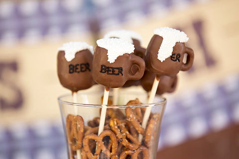 12 Beer Mug Football Party Cake Pops Favors Man Cave Darts Birthday Retirement Sports Bachelor Superbowl - Sparkling Sweets Boutique,  - chocolate