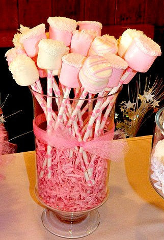 12 Chocolate Dipped Marshmallows Birthday Party Baby Shower Favors Pink Princess Blush Ballerina Pink - Sparkling Sweets Boutique,  - chocolate