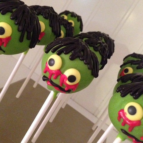 12 Zombie Cake Pops Apocalypse Party Favors Treats - Sparkling Sweets Boutique,  - chocolate