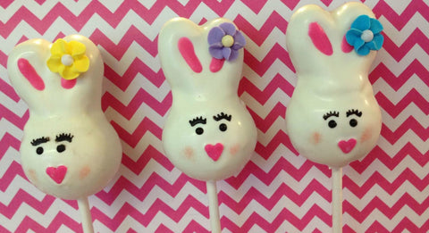12 Bunny Easter Cake Pops Sweets Table Candy Buffet Party Favors - Sparkling Sweets Boutique,  - chocolate