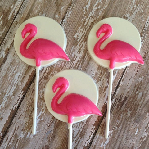 12 Chocolate Flamingo Lollipops Beach Party Luau - Sparkling Sweets Boutique,  - chocolate
