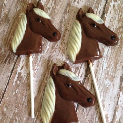 12 Chocolate Horse Lollipops Rodeo Farm Birthday Party Favors Pony - Sparkling Sweets Boutique,  - chocolate
