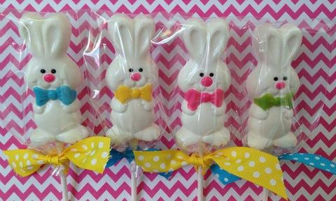 12 Chocolate Easter Bunny Lollipops Rabbit Sweet Table Candy Buffet Party Favors - Sparkling Sweets Boutique,  - chocolate